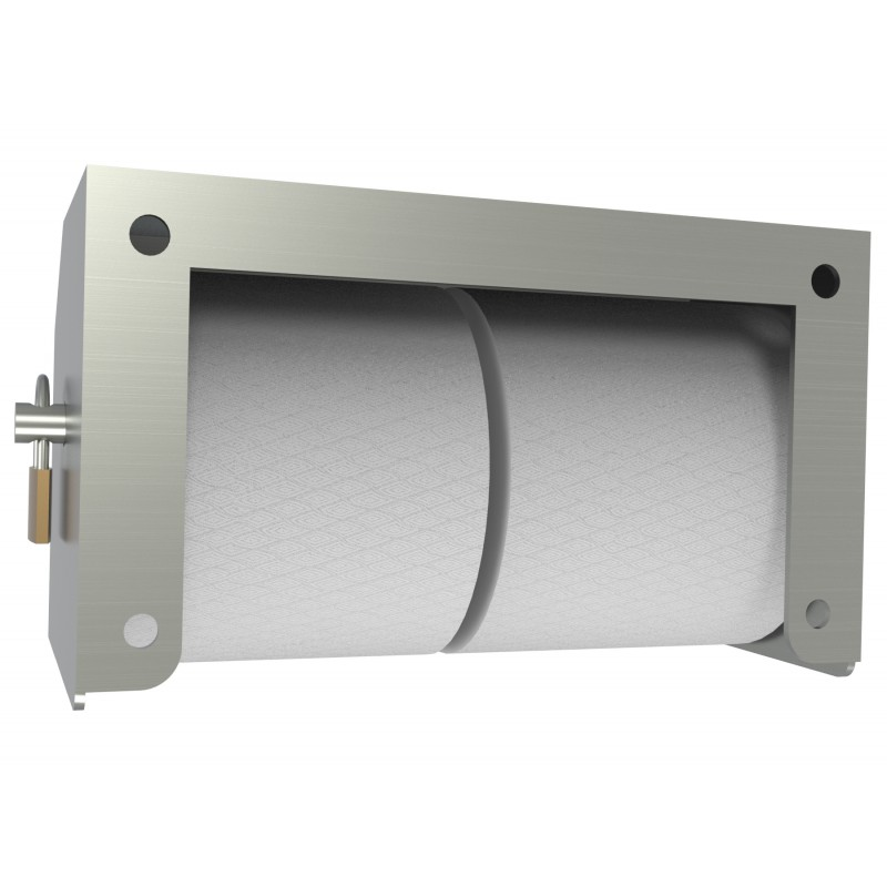 Heavy Duty Two Roll Shrouded Stainless Commercial Toilet Paper Holder