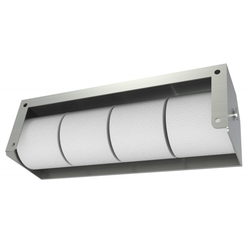 Heavy Duty Four Roll Shrouded Stainless Commercial Toilet Paper Holder